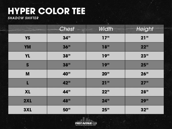 Hyper Color Size Chart